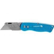 HOEGERT Нож складной с трапециевидным лезвием складной, алюминиевый корпус, 1 лезвие SKS