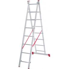 Лестница алюминиевая двухсекционная 8 ступеней NV 222 артикул 2220208