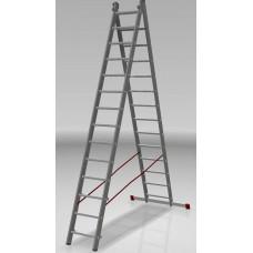 Лестница алюминиевая двухсекционная индустриальная 14*2 ступеней NV 522 артикул 5220214