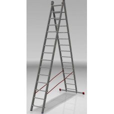 Лестница алюминиевая двухсекционная индустриальная 15*2 ступеней NV 522 артикул 5220215