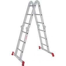 Четырёхсекционная алюминиевая многофункциональная лестница трансформер с помостом NV 2330 артикул 2330403