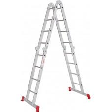 Четырёхсекционная алюминиевая многофункциональная лестница трансформер с помостом NV 2330 артикул 2330404