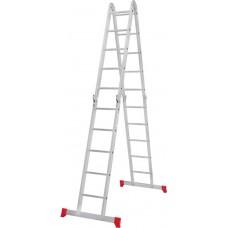 Четырёхсекционная алюминиевая многофункциональная лестница трансформер с помостом NV 2330 артикул 2330405