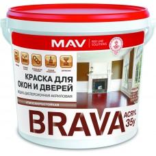 MAV BRAVA АCRYL 35у - краска для окон и дверей (полуматовая) - 11л (13,0 кг)