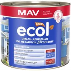 MAV ECOL  - алкидная эмаль по металлу и древесине  (снежно-белый) - 2,4л (2,0 кг)