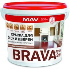 MAV BRAVA АCRYL 35у - краска для окон и дверей (полуматовая) -  1л (1,1 кг)