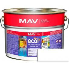 MAV ECOL ПФ-115 - эмаль по металлу и древесине, белая глянцевая - 10,0 л (11,0 кг)