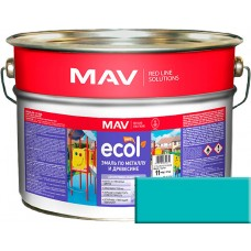 MAV ECOL ПФ-115 - эмаль по металлу и древесине, Аквамарин - 10,0 л (11,0 кг)