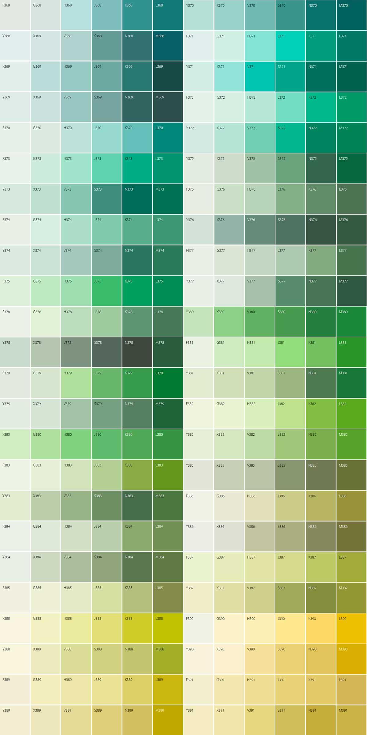 Каталог зеленых цветов Tikkurila Symphony